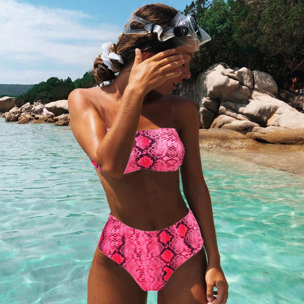 MOSHENGQI Sexy Tier Gedruckt Badeanzug Weiblichen Push-Up Bikini Hohe Taille Badeanzug Mayo Bandeau Bademode Frauen 2019 Biquini