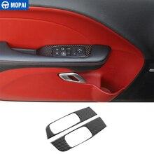 MOPAI Auto Aufkleber für Challenger 2015 + Carbon Faser Auto Fenster Taste Dekoration Abdeckung Zubehör für Dodge Challenger 2015 +