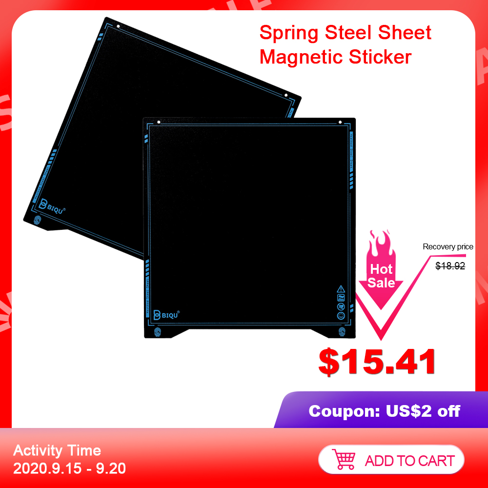 BIQU SSS Textured PEI Super Spring Steel Sheet 310x310 Heat Bed Flexible Build Plate PLA PETG ender3 I3 MK3 3D Printer Parts