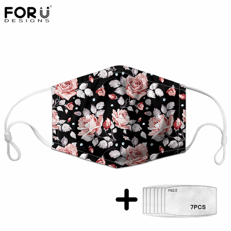 FORUDESIGNS Tropical Flowers Pattern Women Comrfortable Elastic Adjustable Half Face Mouth Mask Dustproof Non-disposable Maske