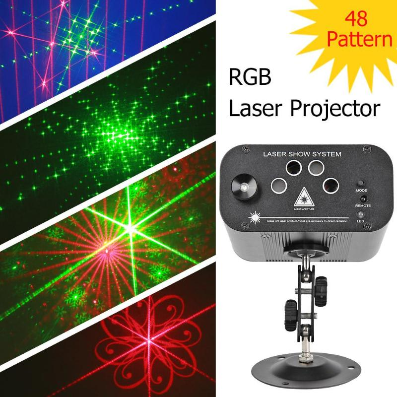 Mini RGB Laser Projector 48 Pattern Portable Laser Light For DJ Stage Disco