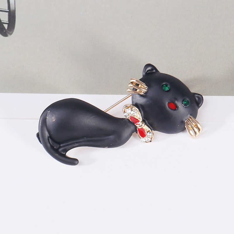 Wuli & 베이비 블랙 에나멜 고양이 브로치 귀여운 고양이 애완 동물 동물 사무실 캐주얼 브로치 핀 선물