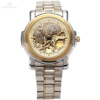 Luxury KS Royal Carving Skeleton Steampunk Automatic Golden Stainless Full Steel Dress Business Mechanical Men's Watches /KS139