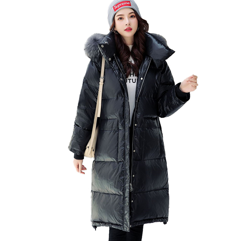 Winter Womens Parkas 2019 New Black White duck   down   Jacket Plus size Student Hoodies Thick Windproof Warm   Down   Long   Coats   G632