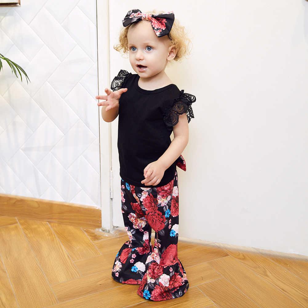 Sommer Baby Mädchen Schwarz Spitze Tops Glocke-Bottoms Lange Gedruckt Hosen Haar Band Jumpsuit Set