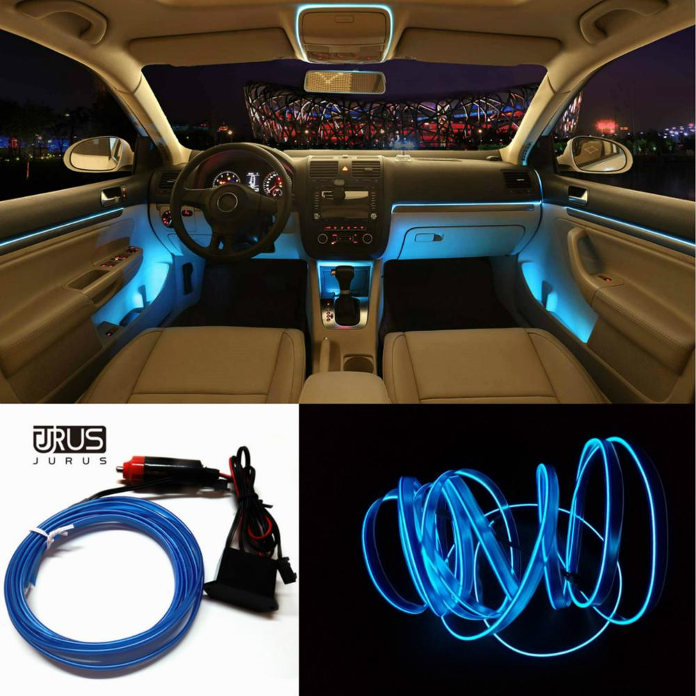 JURUS 3Meter Refit Interior Light 12V Neon Strip El Cold Lights Night Tape Glow Decoration Light Tube With Car Cigarette Lighter image