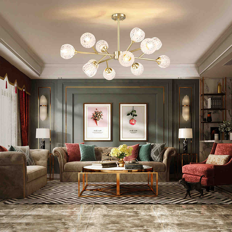 cheapest Modern American ALL Copper Crystal Chandelier Lighting and Dining Room Luxury Gold Lustre Kitchen Molecular art Hanging Lamps