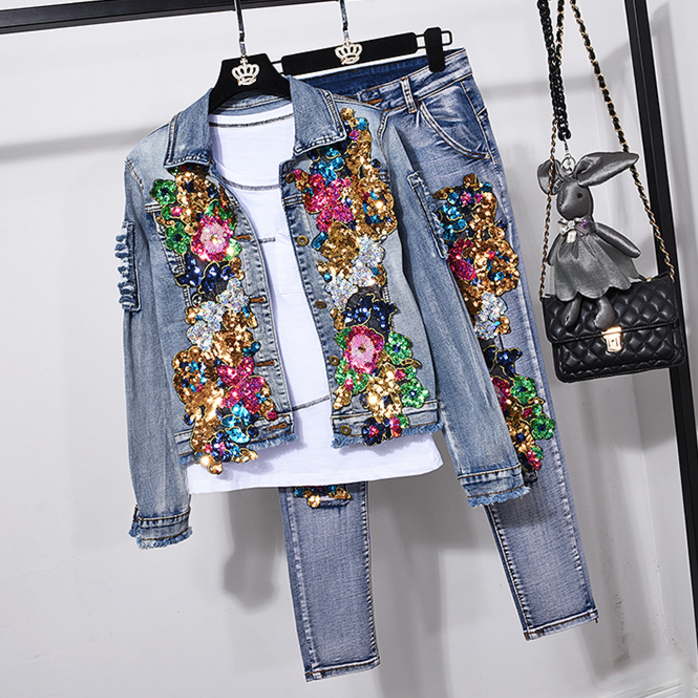 European Style Denim Suit Fashion Outfit Women New Flower Sequined Denim Jacket Short Jacket & Jeans Pants Two-Piece Set Female