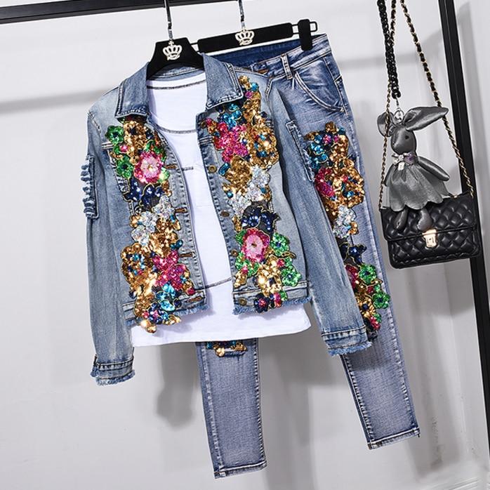 European Style Denim Suit Fashion Outfit Women New Flower Sequined Denim Jacket Short Jacket & Jeans Pants Two-Piece Set Female