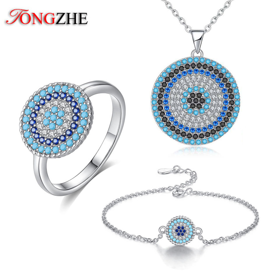 TONGZHE Wedding Jewelry 925 Sterling Silver Indian Jewelry Set Round Blue Evil Eye Zirconia Necklace Women Ring Bracelet