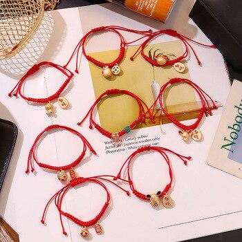 2020 nueva pulsera de cuerda roja pareja de cuerda tejida a mano estudiante novia transferencia conejo ratón pulsera del Zodíaco regalo joyería femenina