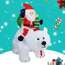1,7x2,1 M Weihnachten Aufblasbare Santa Claus Reiten Bär Hause Garten Dekoration Elektrische Aufblasbare Santa Claus Weihnachten Decor