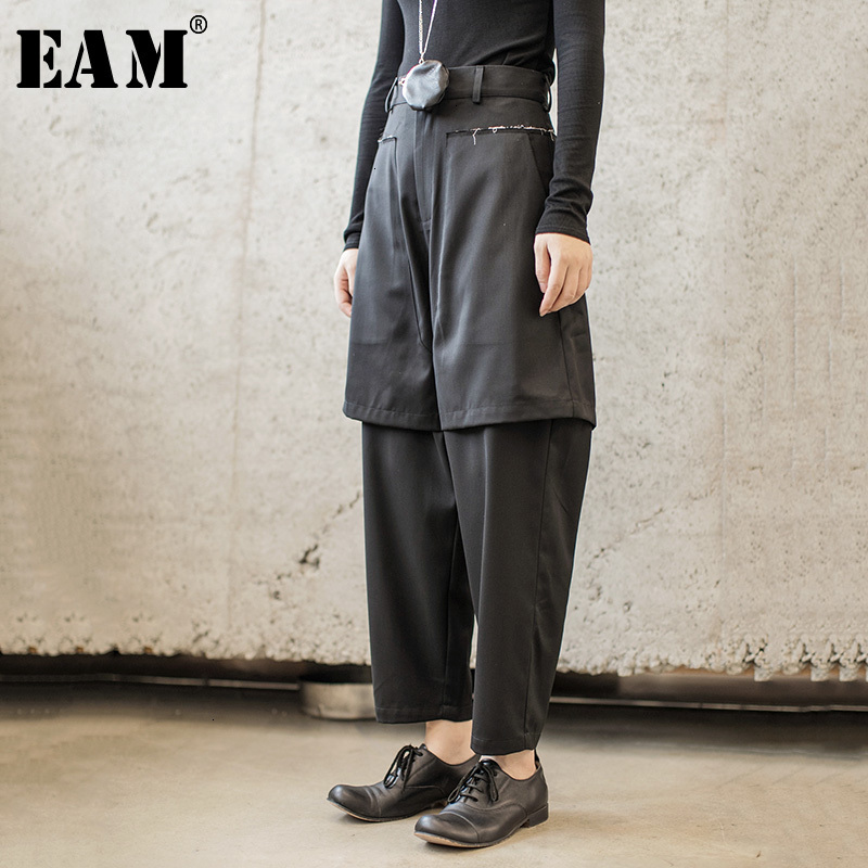 [EAM] High Waist Black Split False Two Long Harem Trousers New Loose Fit Pants Women Fashion Tide Spring Autumn 2020 1H296