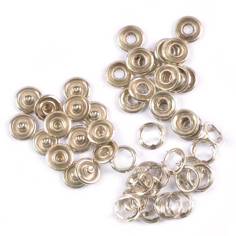100pcs 12mm Jersey Snap Poppers Fasteners Studs Open Ring No Sew Buttons Dummy
