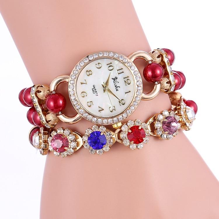 Nova listagem fashioncrystal rhinestoneswomen relógio pérola pulseira