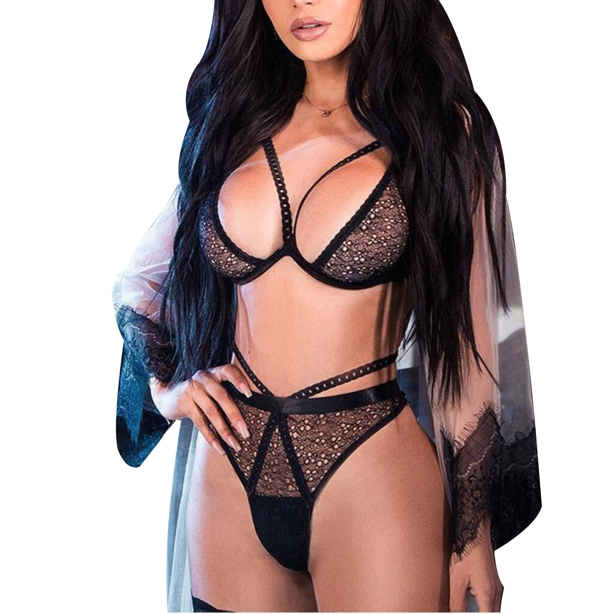 New Sexy Woman Set Exotic 2 Piece Sexy Lingerie Lace Deep V Erotic Underwear Lingerie Set Pure Lace Bralette Bra and Panties