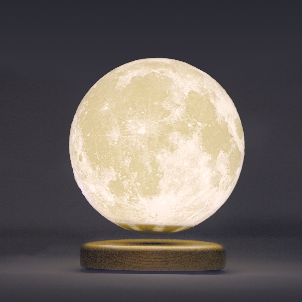LED 3D Magnetic Levitation Moon Lamp 15cm Rotating Touch Night Light Home Bedroom Decoration Luminaires Night Lights Kids Gift