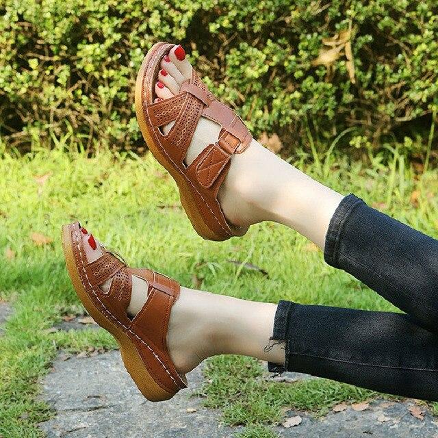 2020 Summer Women Wedge Sandals Premium Orthopedic Open Toe Sandals Vintage Anti-slip Leather Casual Female Platform Retro Shoes 4