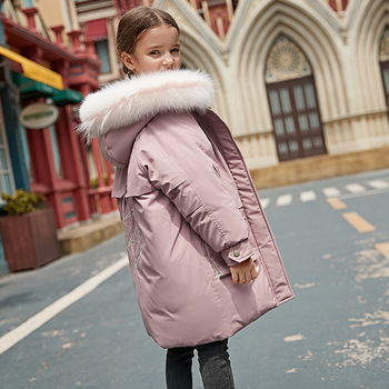 wear down jacket, 2019 new girl han edition cuhk children with thick white duck down jacket one undertakes to children