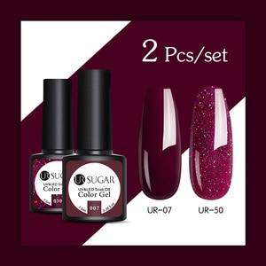 UR SUGAR 2PCS/LOT Glitter Nail Gel Polish Set Rose Pink Hybrid Color Series Semi Permanent Led Nail varnish Set Sequins Gel(China)