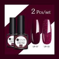 UR ZUCKER 2 teile/los Glitter Nagel Gel Polish Set Rose Rosa Hybrid Farbe Serie Semi Permanente Nagel Lack Set pailletten Gel