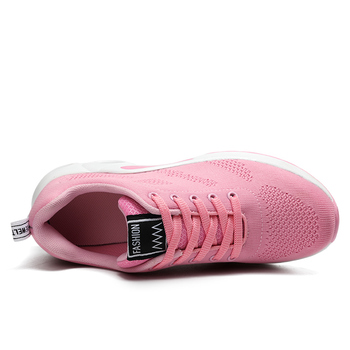Ladies Trainers Casual Mesh Sneakers Pink Women Flat Shoes Lightweight Soft Sneakers Breathable Footwear Basket Shoes Plus Size 5