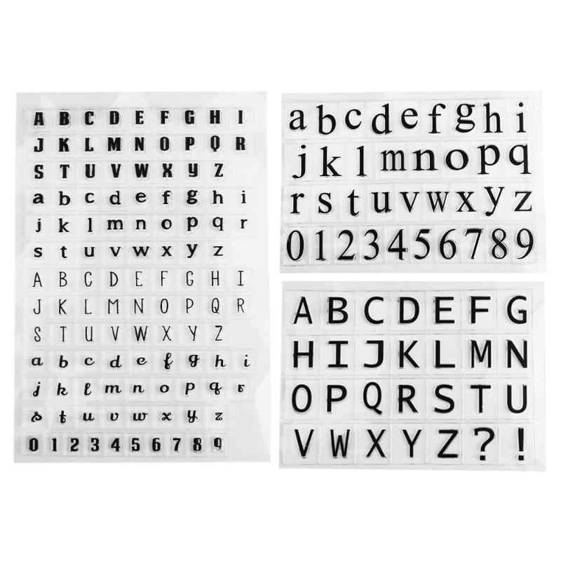 Inglês carta de silicone transparente transparente selo letras padrão selo diy alphab scrapbooking álbum diário artesanato decoração