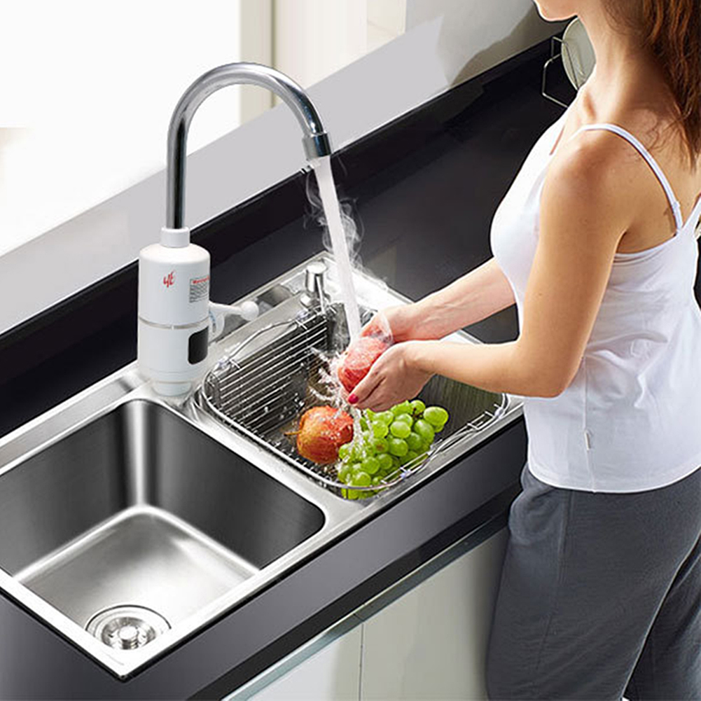 PovKeever WInstant Hot Water Heater Heating Faucet Electric Kitchen Water Heater Tap EU Plug Kitchen Supplies 304Stainless Steel