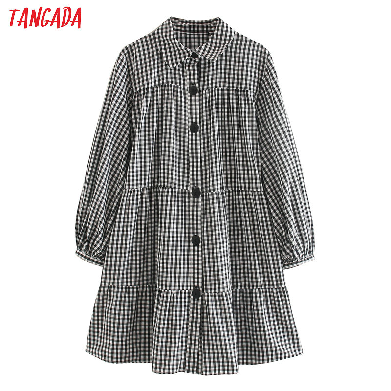 Tangada Japnese Fashion Women Plaid Print Loose Mini Dress Puff Long Sleeve Ladies Oversized Dress Vestidos 5Z33