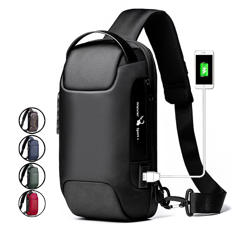 Men Business Chest Bag travel Shoulder Bag sports Motorcycle bag Anti-theft password Crossbody Bags USB Charging Messenger Bag