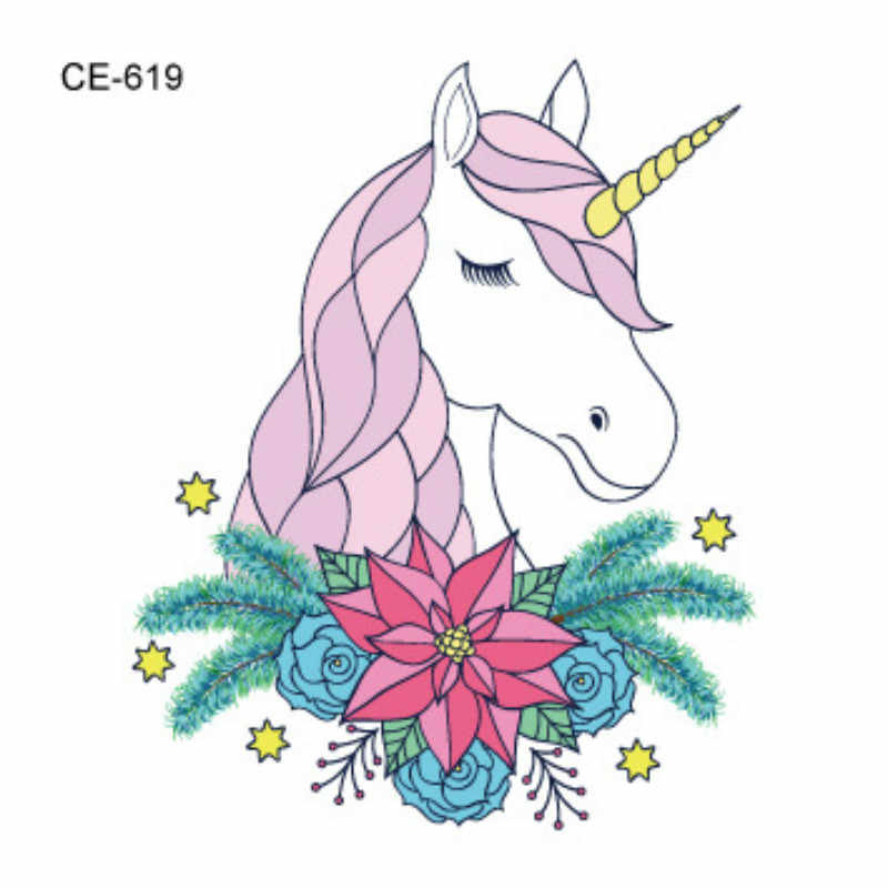 1pcs Pink Unicorn Tattoo Sticker Party Favors Birthday Party Supplies Gift Kid Party Favors Gift for Guest Christmas Halloween