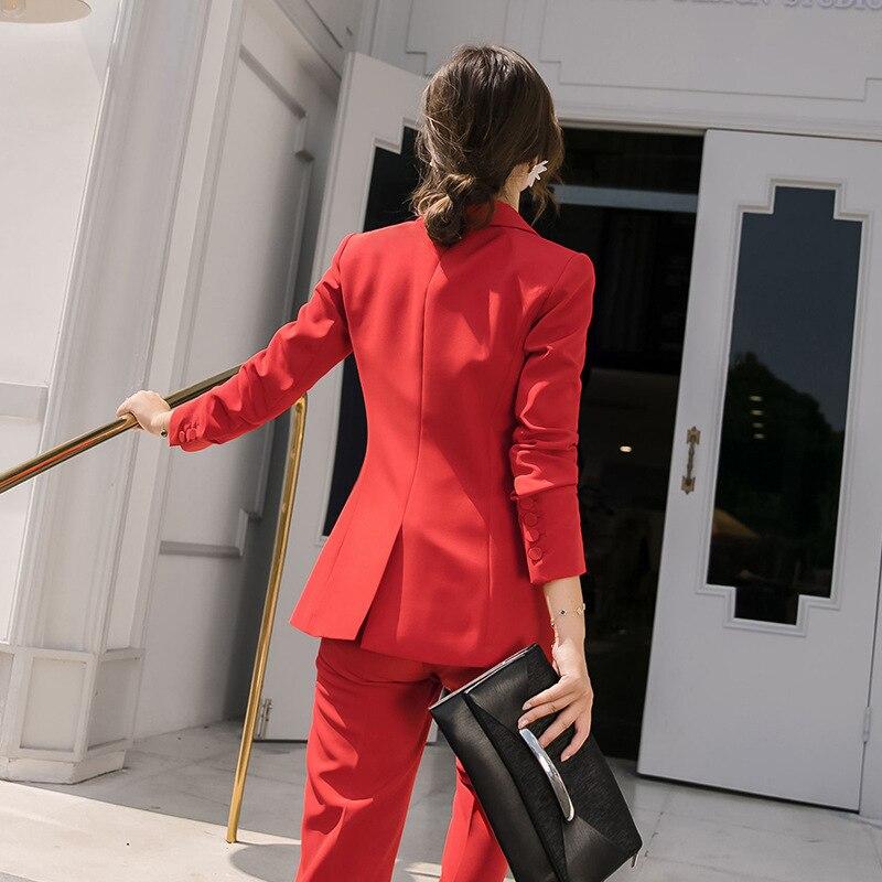 Hot Red Black Female formal Women's Pants Suits Office Lady Business Pantsuit Blazer Trouser Suit Set Workwear Uniform Costumes