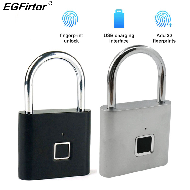Smart Padlock Keyless Fingerprint Lock Padlock Electric Door Lock Security Anti-theft Fingerprint Lock Luggage Case Smart Lock