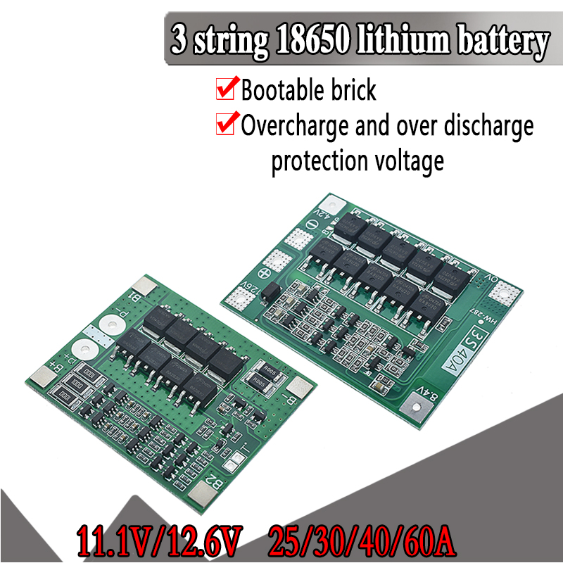 3S 25A 40S Li-ion 18650 BMS PCM Battery Protection Board Bms Pcm With Balance For Li-ion Lipo Battery Cell Pack