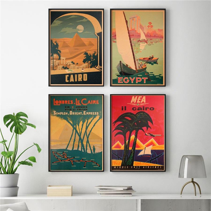 Cairo Egipto Poster Desenho A Mao Cenario Da Paisagem Natural