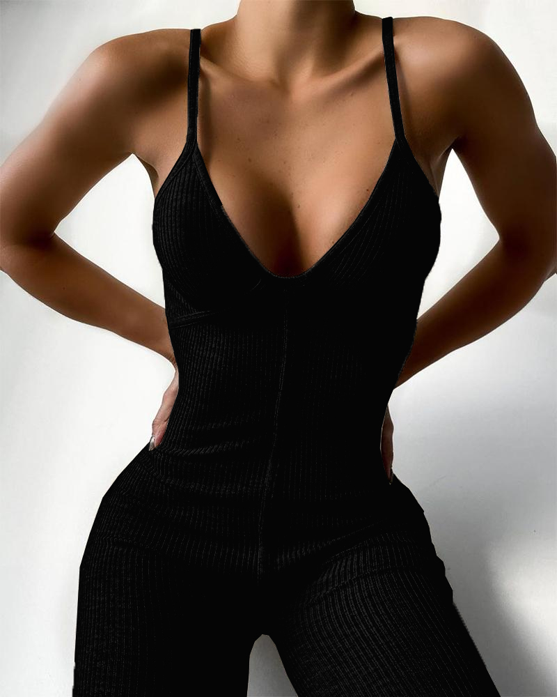 Women Sexy Ribbed Skinny Cami Jumpsuit Female Casual Tie Dye Print Spaghetti Strap Jumpsuit Contrast Binding V Neck Jumpsuit