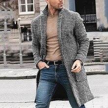 2019 Men Casual Winter windbreaker Fashion Hounstooth Gentlemen Long Plaid Coat Jacket Turn Down Collar Winter Outwear Q0924