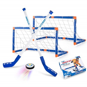 Ice Hockey Stick Set Mini Hockey Goals for Kids Air Hockey Training Toys Indoor Sports Game Floor Hockey 2 Goals with Air Balls