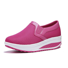 2020 Women Shoes Loafers Wedges Flat Platform Fashion Mesh Shoes Women Increased Internal Casual Ladies Shoes Plus Size 35 -43 casual increased internal and lace up design athletic shoes for women