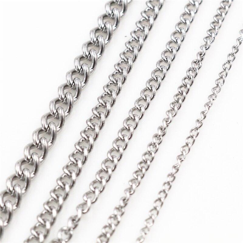 5 м/лот, никогда не выцветает, утолщенные цепочки из нержавеющей стали, для изготовления ювелирных изделий, материалы ручной работы