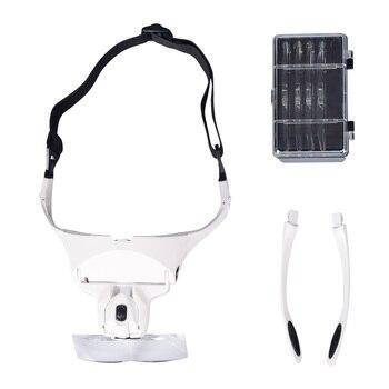 Adjustable 5 Lens Loupe LED Light Headband Magnifier Glass LED Magnifying Glasses With Lamp 5 trade loupe magnifying glass with led lamp pocket magnifier portable folding keyring