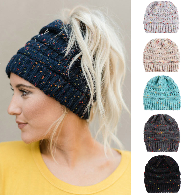 Women Fashion Winter Stretch Crochet Knitted Hat Messy High Bun Ponytail Beanie Holey Warm Caps