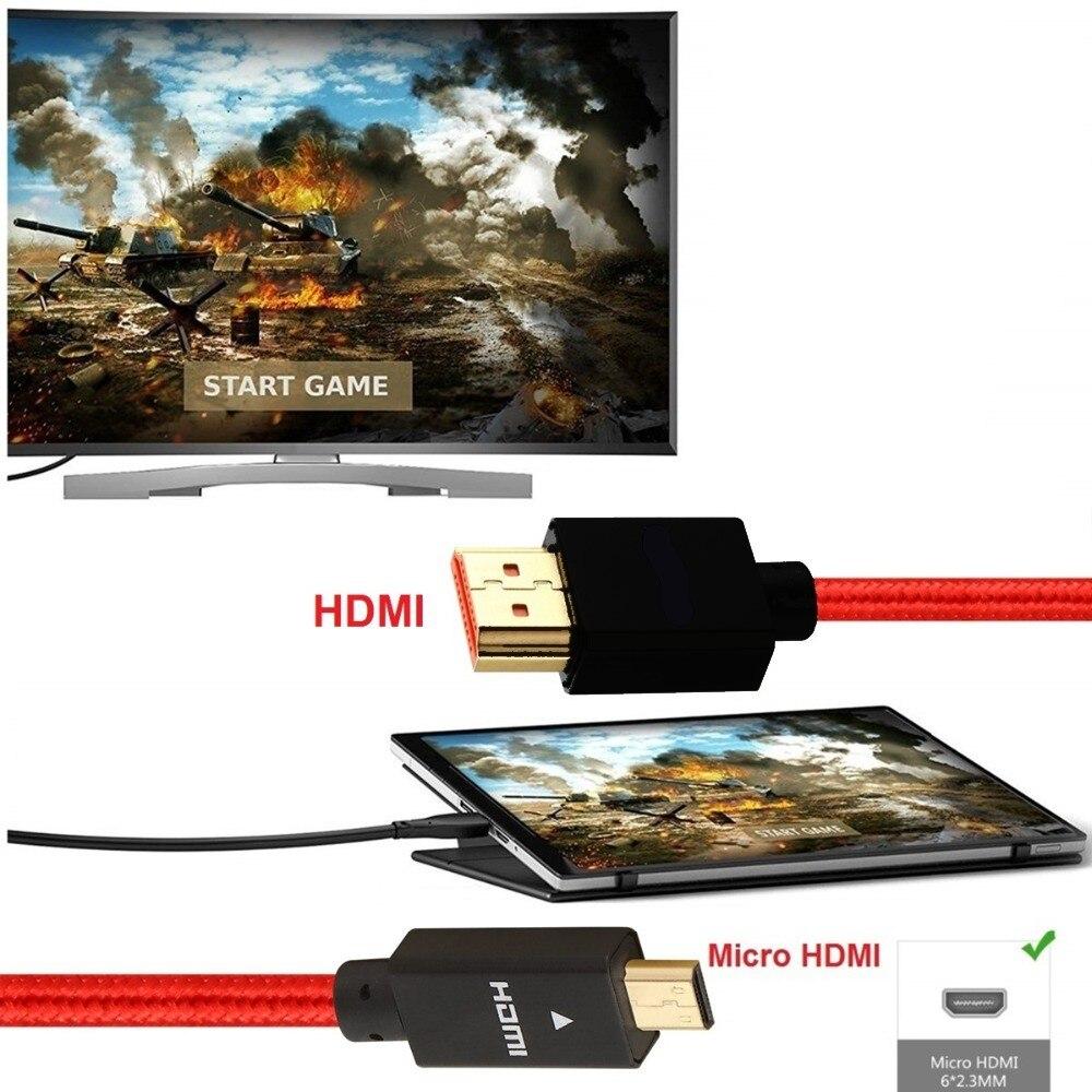 Микро HDMI к HDMI кабель 2,0 3D 4k 1080P Высокоскоростной HDMI кабель адаптер 1 м 2 м 3 м 5 м для HD ТВ PS3 xbox PC камера Micro HDMI кабель