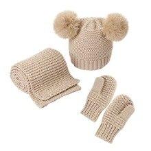 Three Piece Baby Hats Scarf Gloves Sets Double Pompom Knitted Beanie Autumn Winter Warm Children Skullies Scarf Gloves Suits