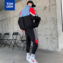 TONLION Fashion Patchwork Mens Sportswear Sets Casual Long Length Zipper Jackets and Elastic Ankle Pencil Pants Spring 2020 New