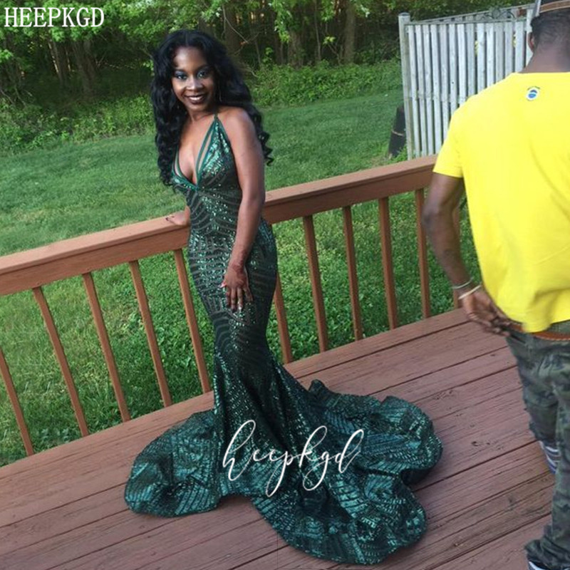 Sexy Green Sequin Long African Prom Dresses Sweetheart Spaghetti Straps Black Girl Graduation Dress Plus Size Wedding Party Gown