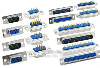 DB9 DB15 DB25 DB37 agujero/Pin hembra/macho azul soldado conector RS232 puerto serie adaptador DB D-SUB 9/15/25/37 pin