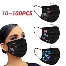 10/20/50/100 pièces adulte masque jetable imprimé papillon femmes homme visage masque bouche 3Ply boucle d'oreille noir masque masque 2021