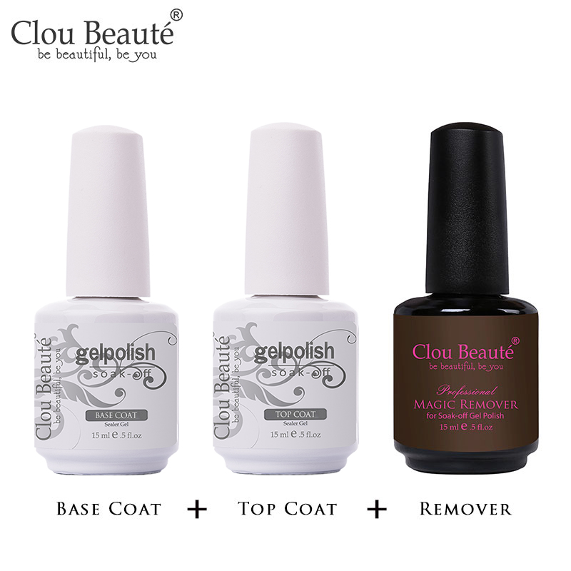 Clou Beaute 15ml Top Coat Base Coat Nail Polish Gel Varnishes Manicure Nail Art Soak Off Lacquer Long Lasting Gel Primer