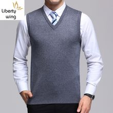 Dikke Winter V-hals Mannen Wol Vesten Business Effen Vest Fashion Warm Breien Tops Mouwloze Jas Coletes Masculino(China)